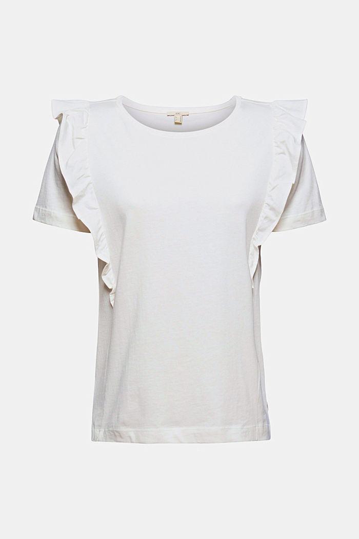 T-Shirt mit Volants, 100% Bio-Baumwolle, OFF WHITE, detail image number 6