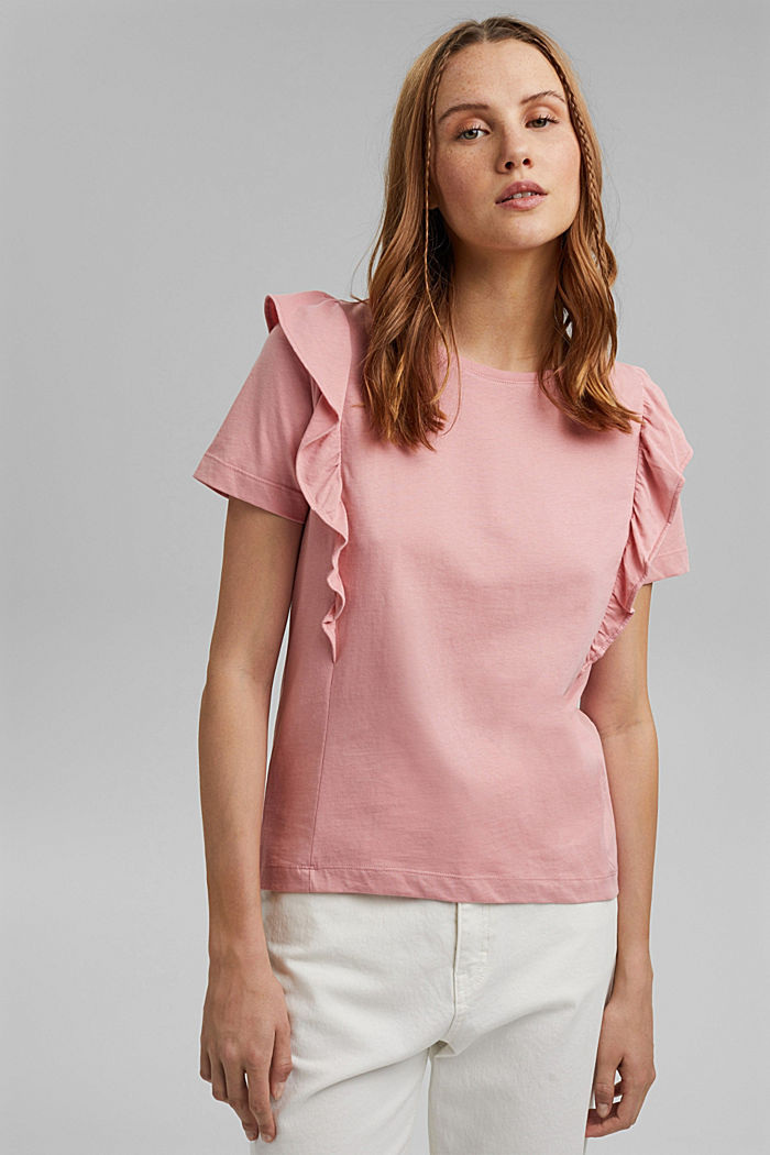 T-shirt with flounces, 100% organic cotton, SALMON, detail image number 4