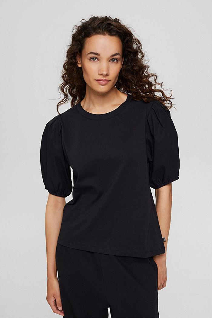 Tričko s nabíranými rukávy, bio bavlna, BLACK, detail image number 0