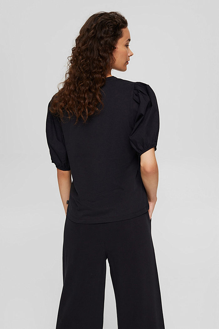 T-shirt with puff sleeves, organic cotton, BLACK, detail image number 3
