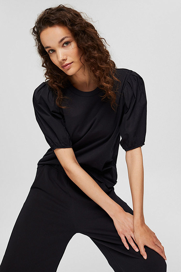 T-shirt with puff sleeves, organic cotton, BLACK, detail image number 5