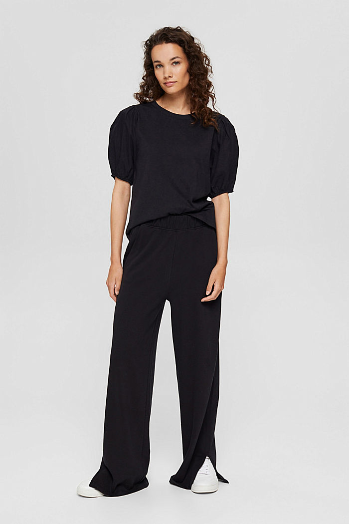 T-shirt with puff sleeves, organic cotton, BLACK, detail image number 1