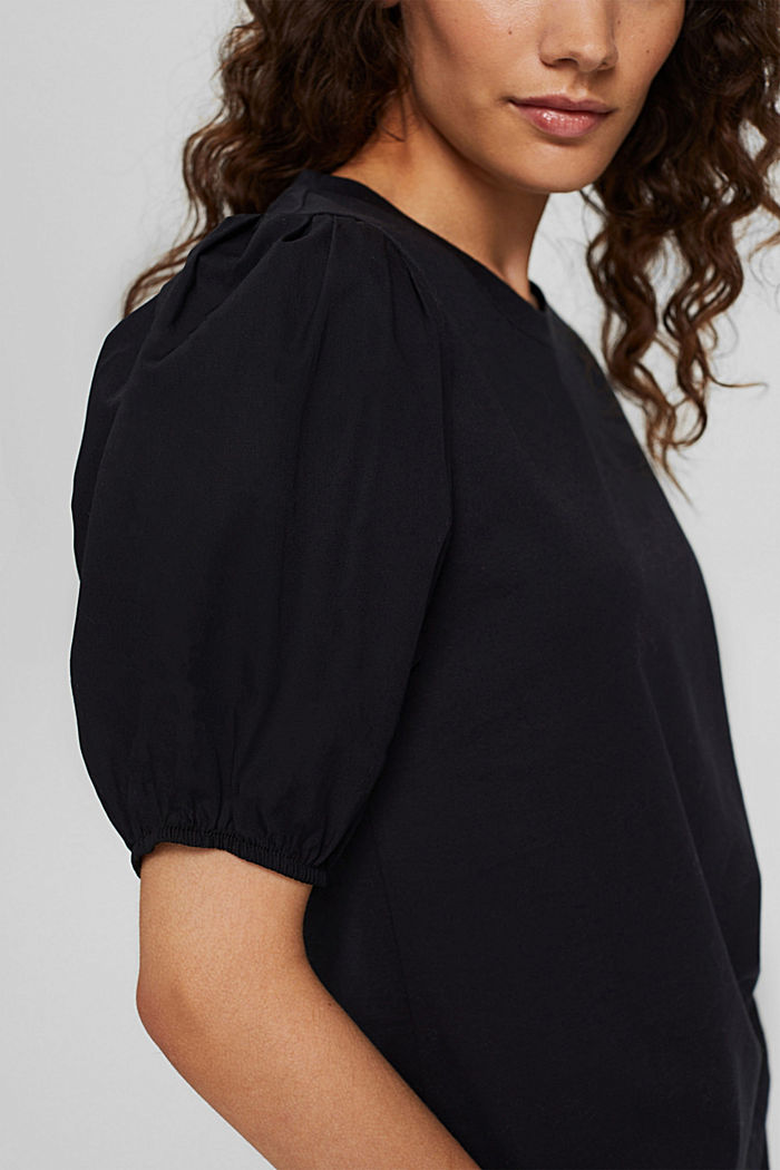 T-shirt with puff sleeves, organic cotton, BLACK, detail image number 2
