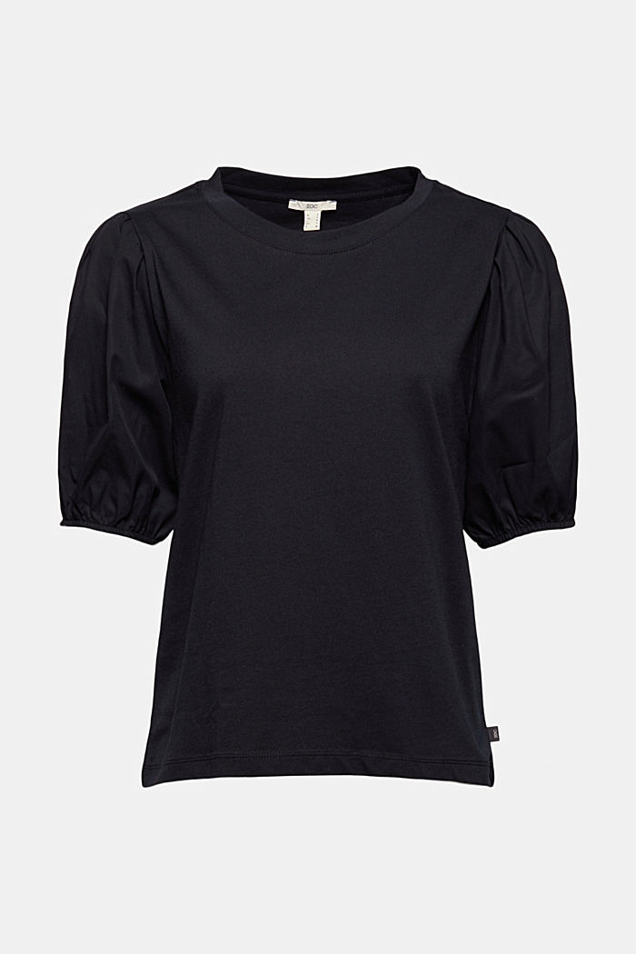 T-shirt with puff sleeves, organic cotton, BLACK, detail image number 6