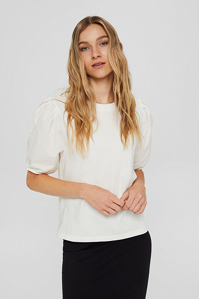 T-shirt with puff sleeves, organic cotton, OFF WHITE, detail image number 0