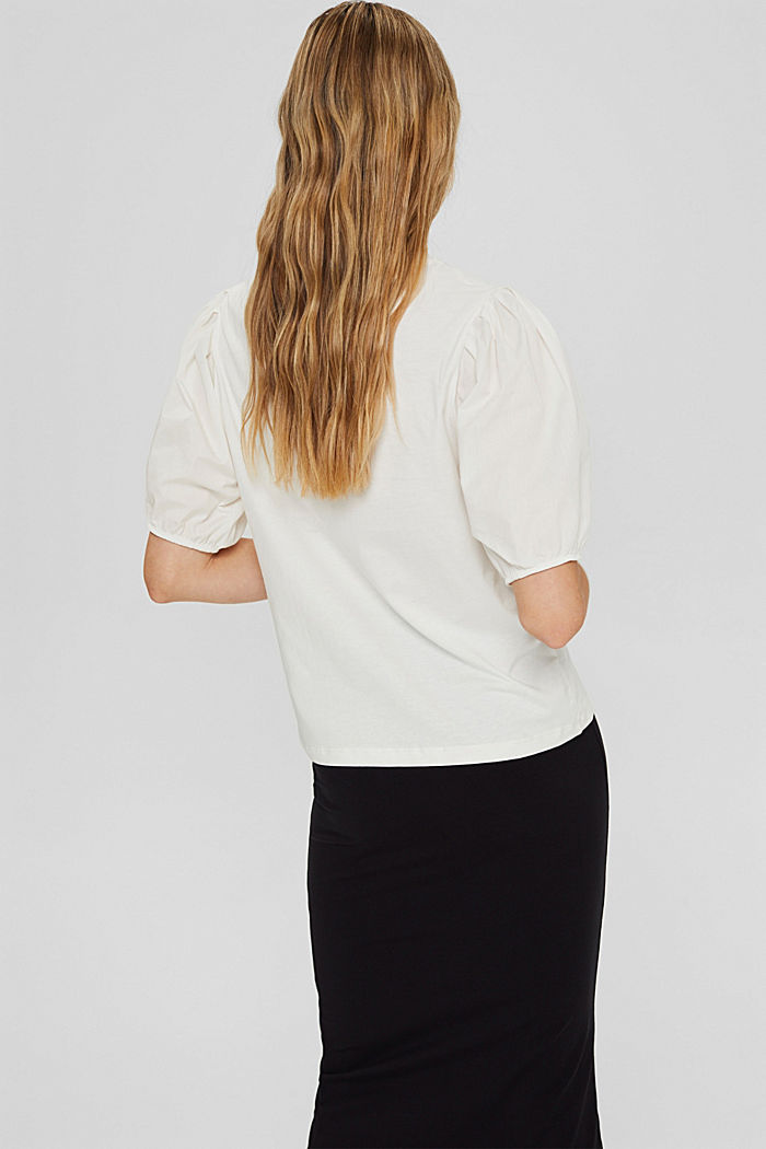 T-shirt with puff sleeves, organic cotton, OFF WHITE, detail image number 3