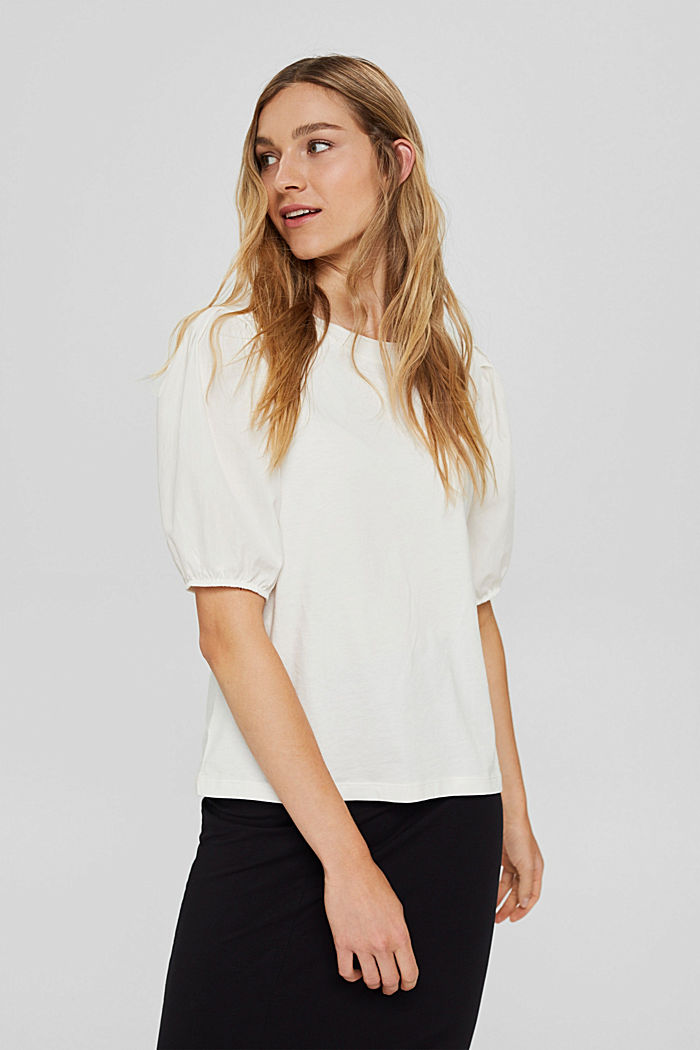 T-shirt with puff sleeves, organic cotton, OFF WHITE, detail image number 5