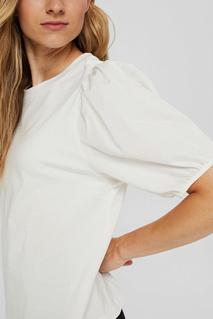 T-shirt with puff sleeves, organic cotton, OFF WHITE, detail image number 2