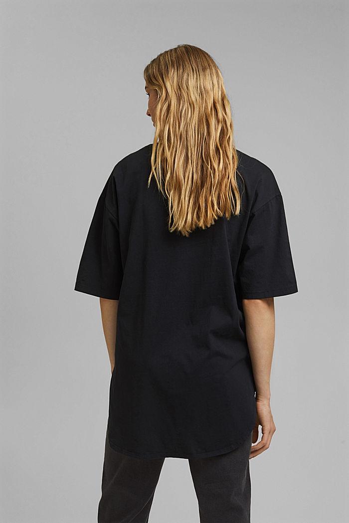 T-shirt long et oversize, 100% coton bio, BLACK, detail image number 3
