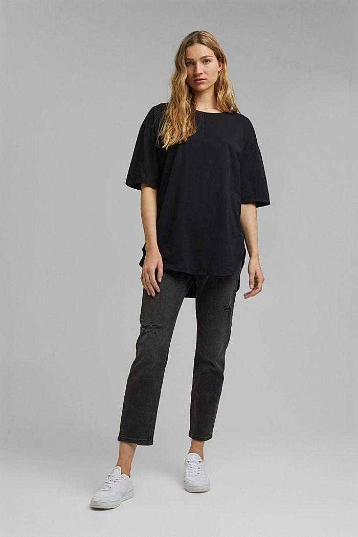 T-shirt long et oversize, 100% coton bio, BLACK, detail image number 6