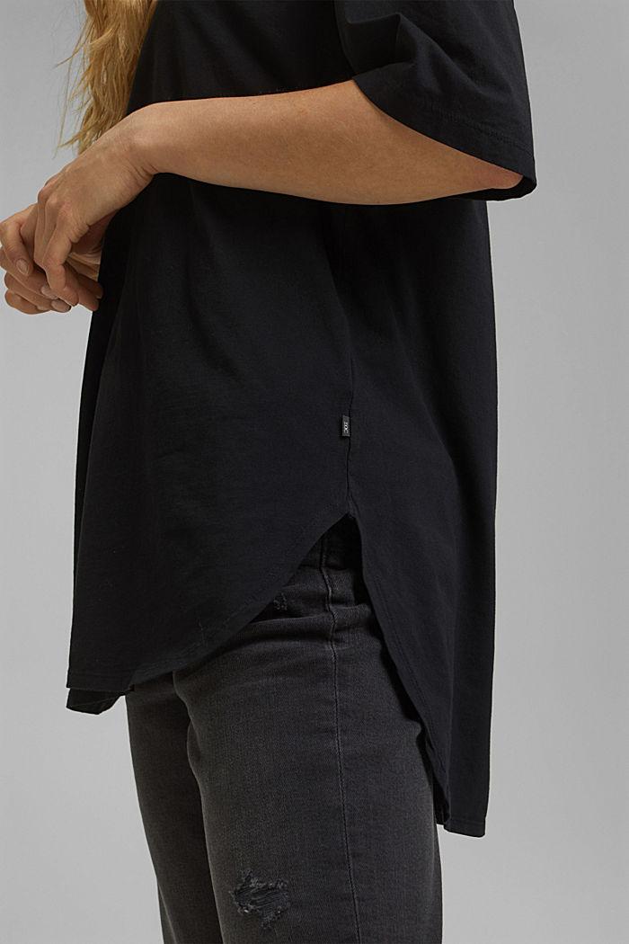 T-shirt long et oversize, 100% coton bio, BLACK, detail image number 2