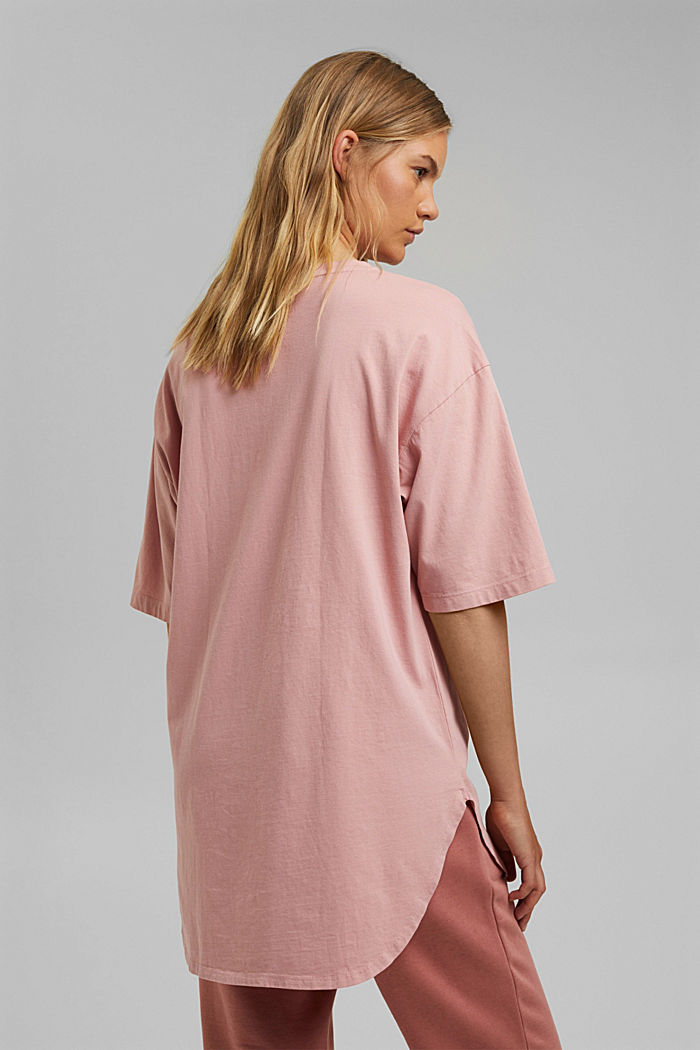 Long oversized top made of 100% organic cotton, SALMON, detail image number 3