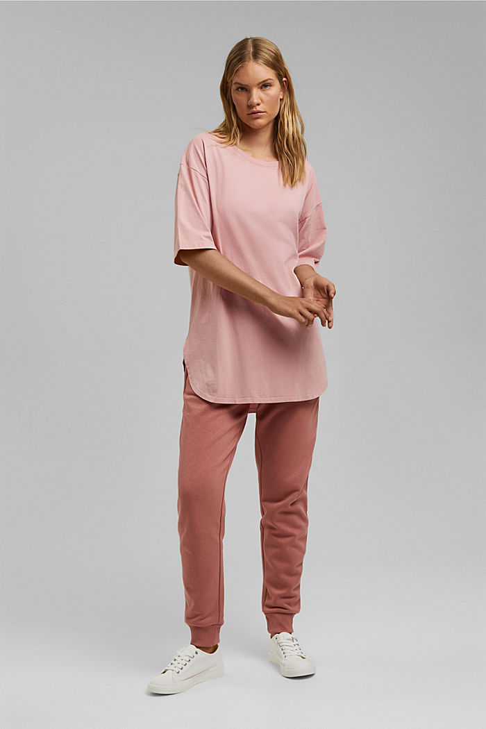 Long oversized top made of 100% organic cotton, SALMON, detail image number 1