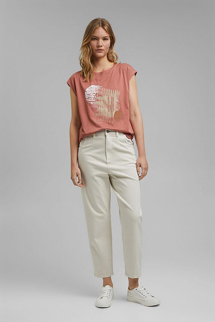T-Shirt mit Print, 100% Organic Cotton, CORAL, detail image number 1