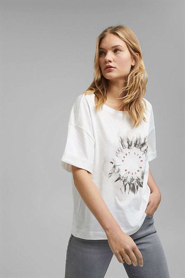 Embroidered T-shirt, organic cotton, OFF WHITE, detail image number 0