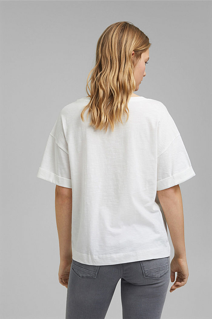 Embroidered T-shirt, organic cotton, OFF WHITE, detail image number 3