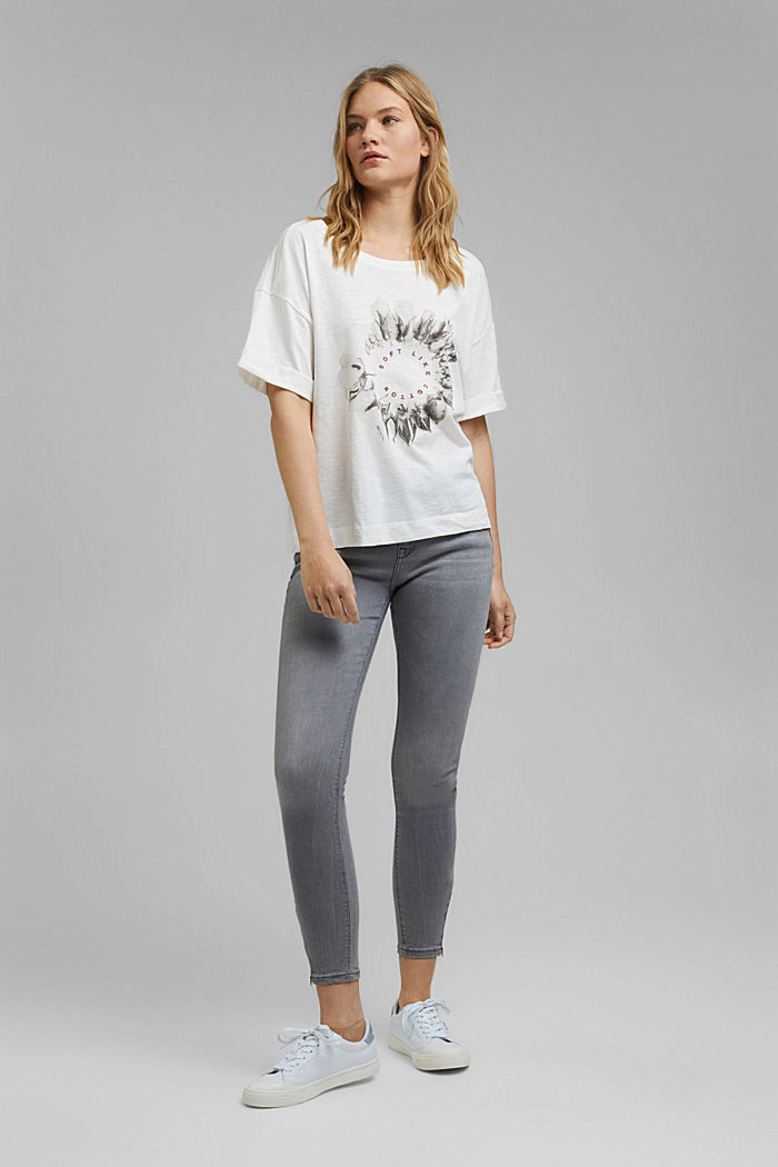 Embroidered T-shirt, organic cotton, OFF WHITE, detail image number 1