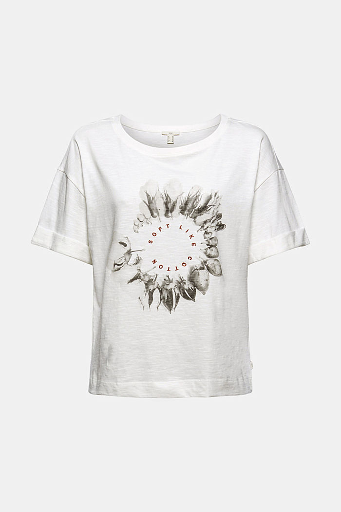 Embroidered T-shirt, organic cotton, OFF WHITE, detail image number 5
