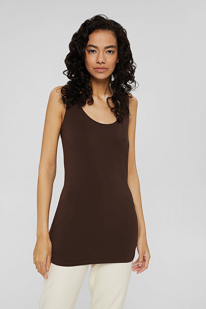 Long vest made of organic cotton, BROWN, detail image number 0