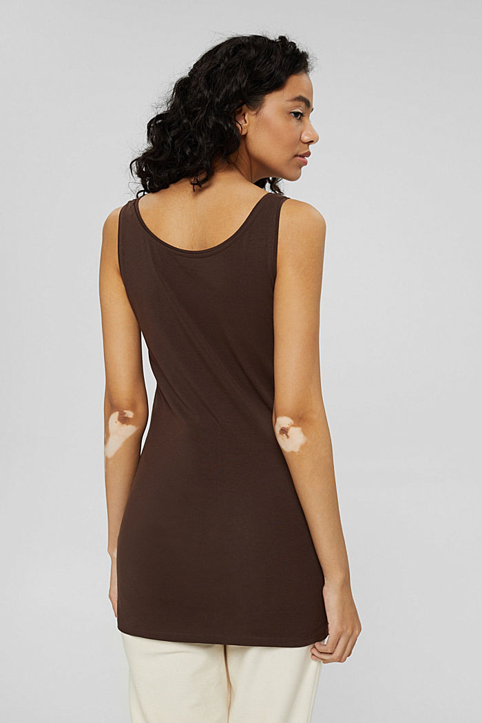 Long vest made of organic cotton, BROWN, detail image number 3