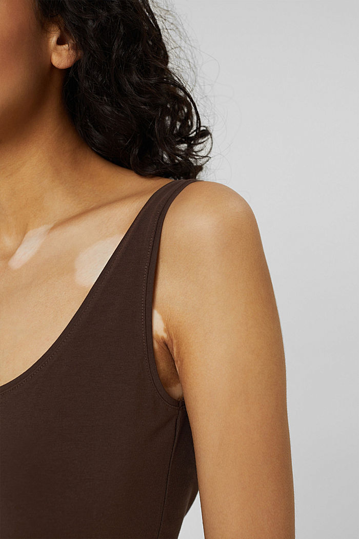 Long vest made of organic cotton, BROWN, detail image number 2