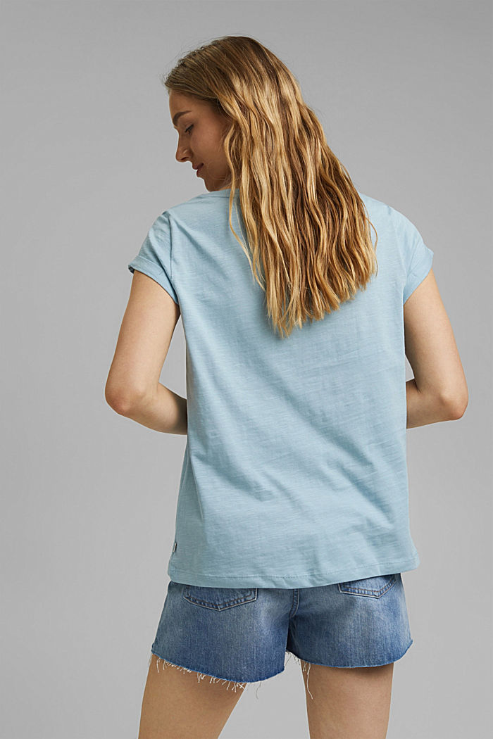 Printed T-shirt, 100% organic cotton, LIGHT BLUE, detail image number 3