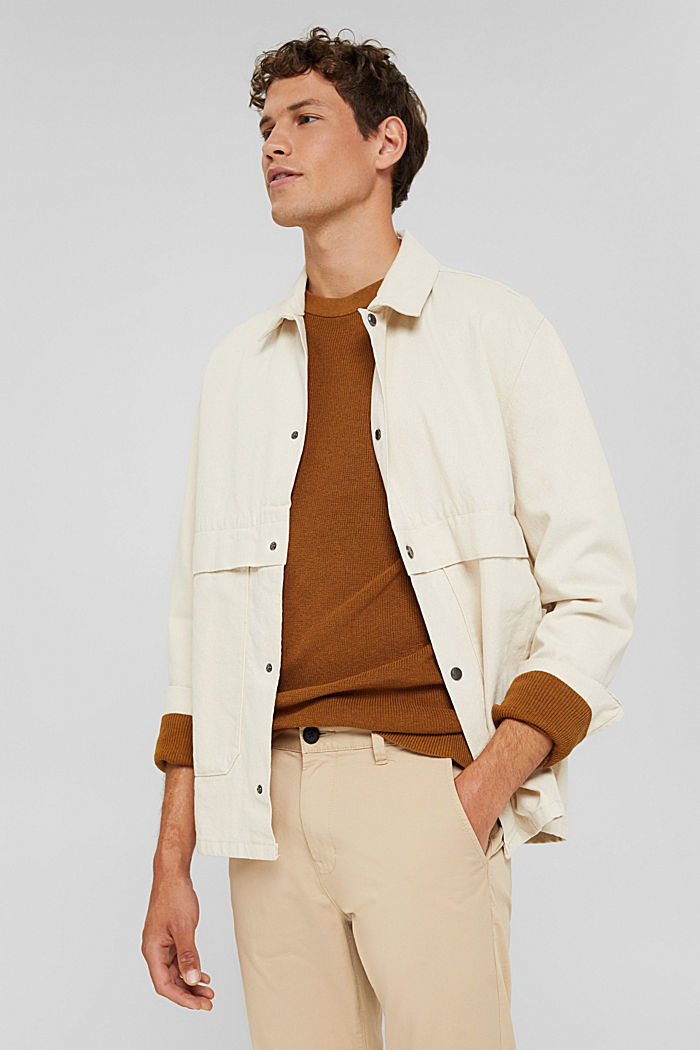100% cotton twill jacket, OFF WHITE, detail image number 0