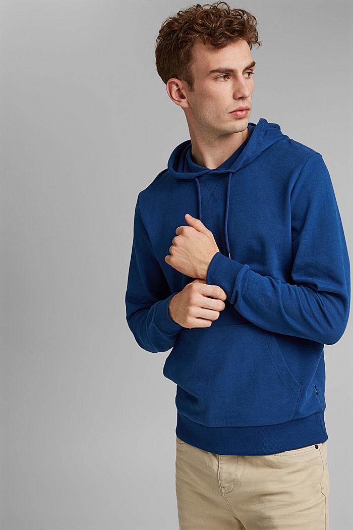 Sweatshirt hoodie in 100% cotton, DARK BLUE, detail image number 4
