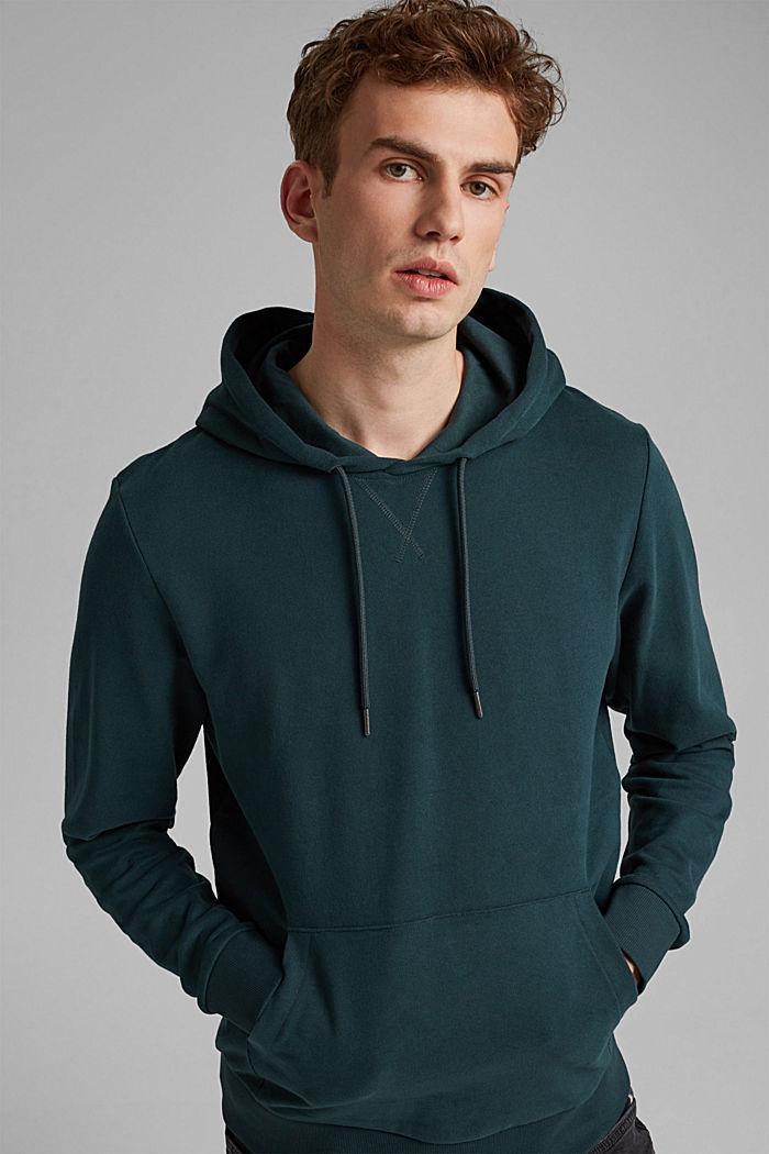 Sweatshirt hoodie in 100% cotton, TEAL BLUE, detail image number 0