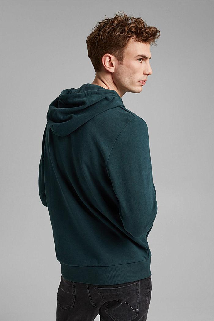 Sweatshirt hoodie in 100% cotton, TEAL BLUE, detail image number 3