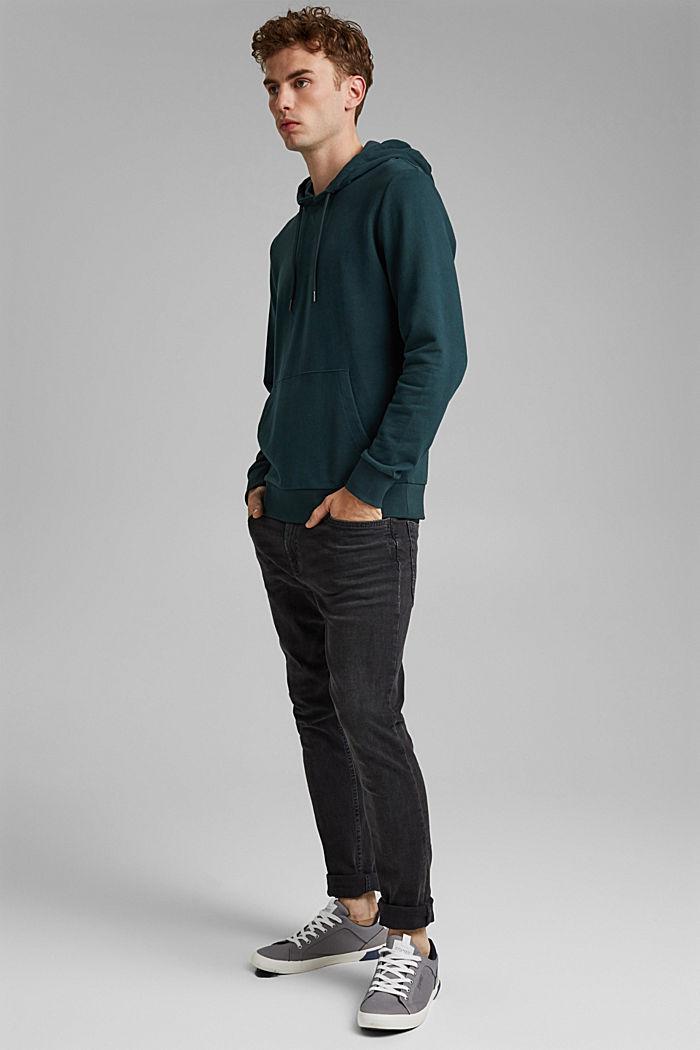 Sweatshirt hoodie in 100% cotton, TEAL BLUE, detail image number 1