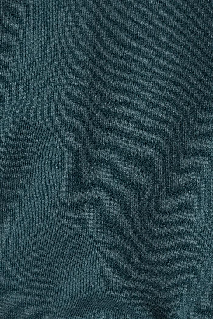 Sweatshirt hoodie in 100% cotton, TEAL BLUE, detail image number 5