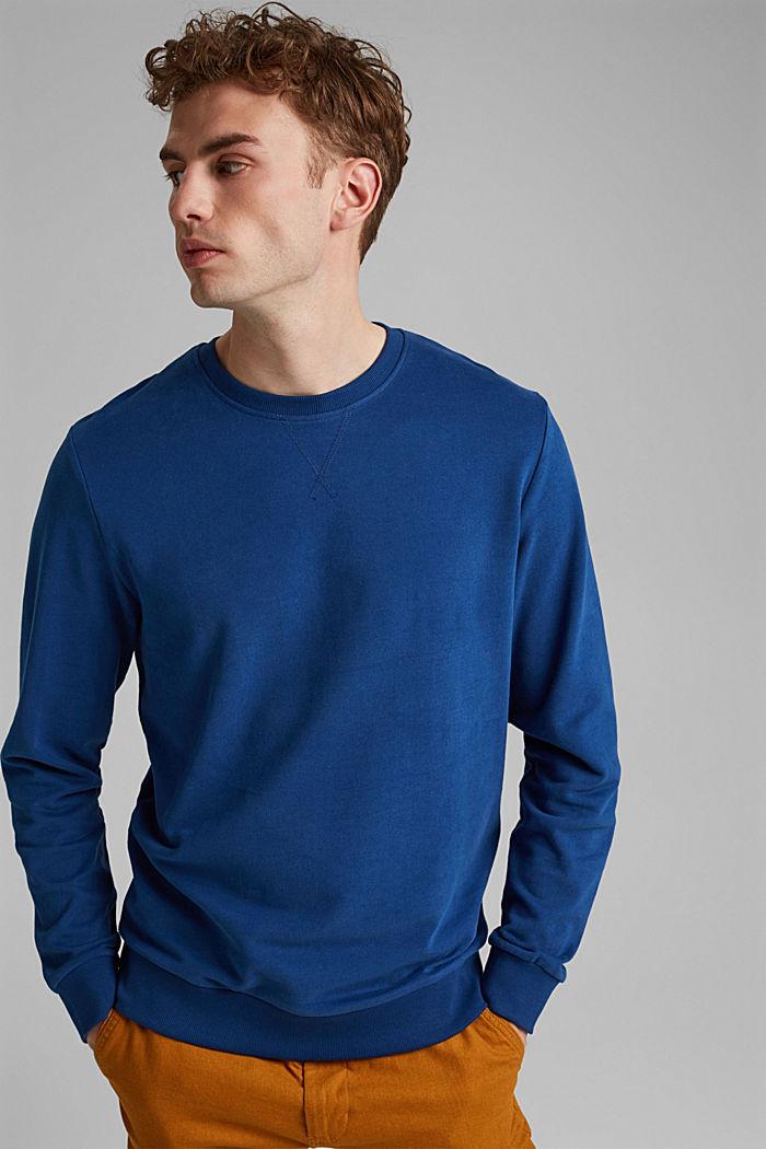 Sweatshirt in 100% cotton, DARK BLUE, detail image number 0