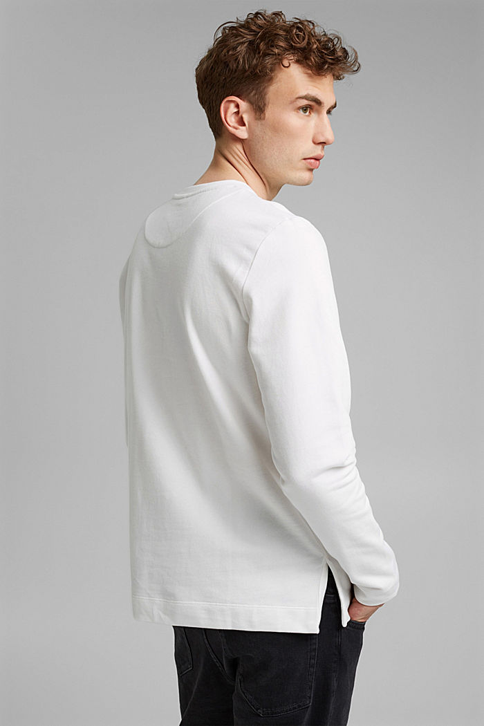 100% cotton sweatshirt with a pocket and a print, OFF WHITE, detail image number 3