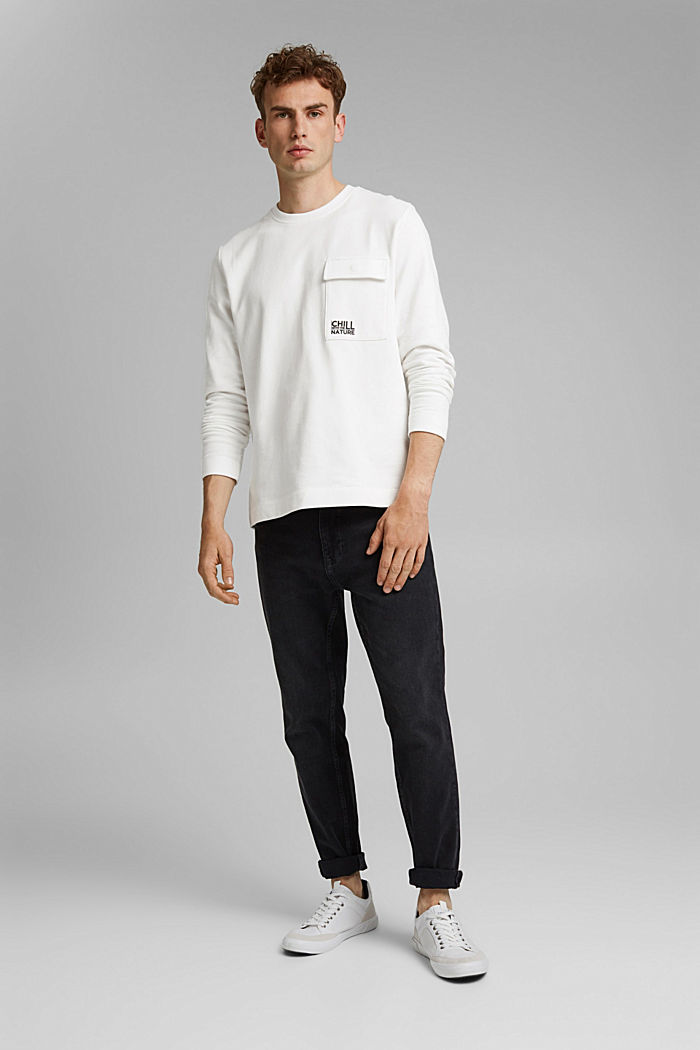 100% cotton sweatshirt with a pocket and a print, OFF WHITE, detail image number 1