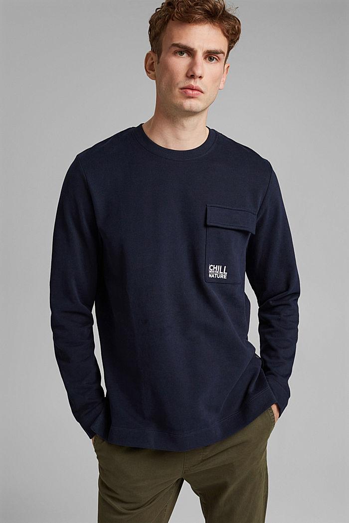 Sweat-shirt à poche et imprimé, 100% coton