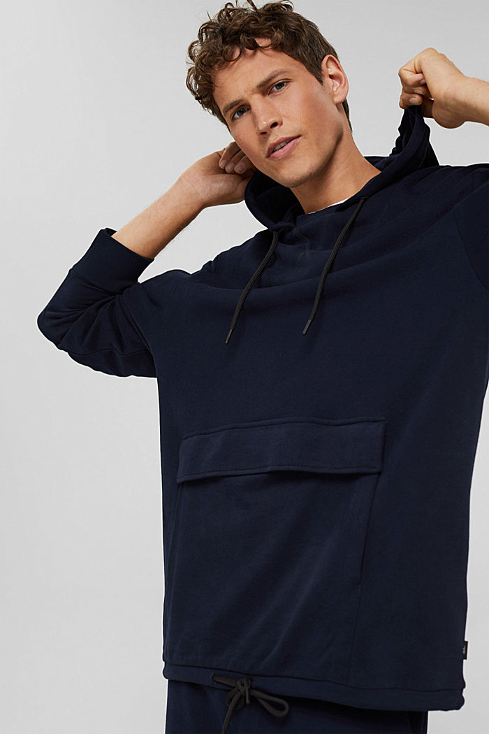 Hoodie in 100% cotton, NAVY, detail image number 0