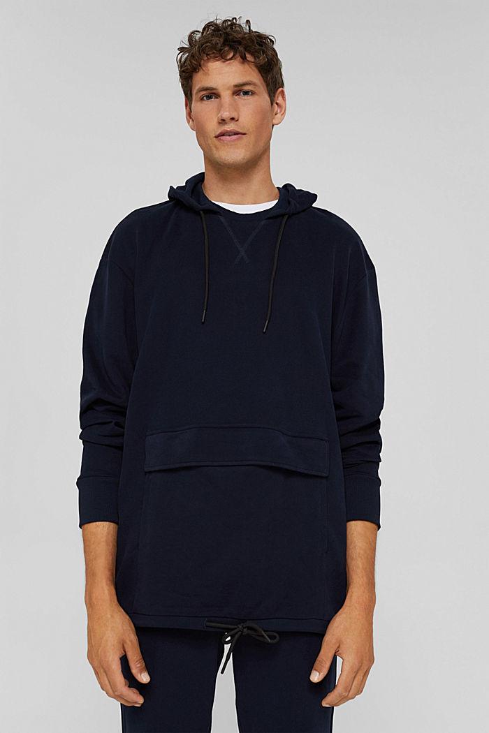 Hoodie in 100% cotton, NAVY, detail image number 4