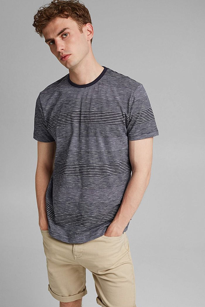 Striped jersey T-shirt made of organic cotton, NAVY, detail image number 0
