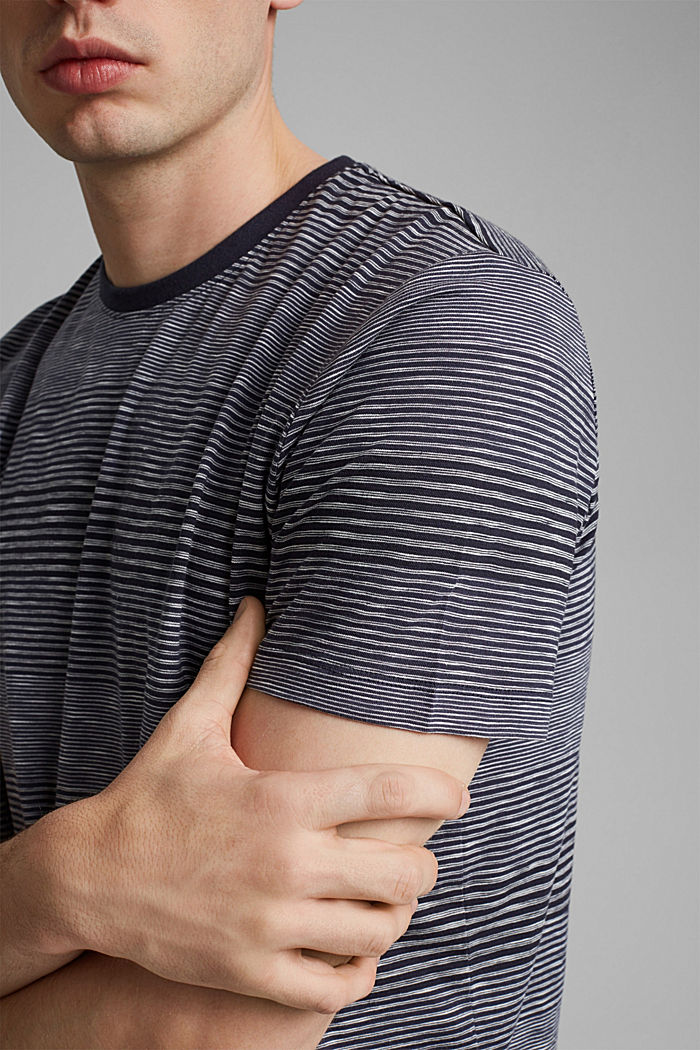 Striped jersey T-shirt made of organic cotton, NAVY, detail image number 1