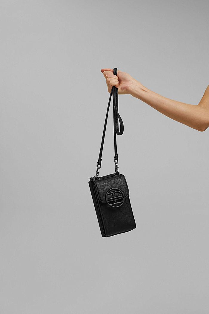 Veganistisch: smartphonetasje met portemonnee, BLACK, detail image number 4