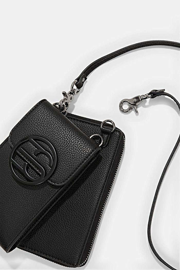 Veganistisch: smartphonetasje met portemonnee, BLACK, detail image number 2