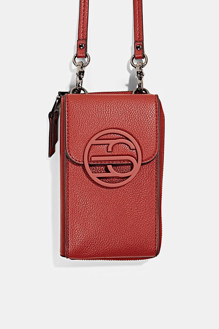 Vegan: smartphone bag with purse, TERRACOTTA, detail image number 0
