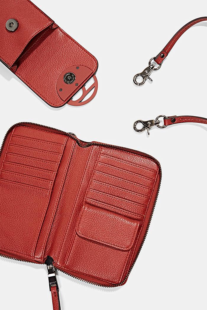 Vegan: smartphone bag with purse, TERRACOTTA, detail image number 4