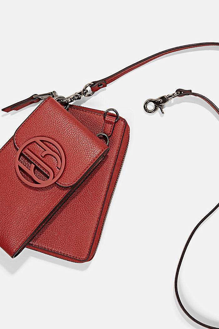 Vegan: smartphone bag with purse, TERRACOTTA, detail image number 3