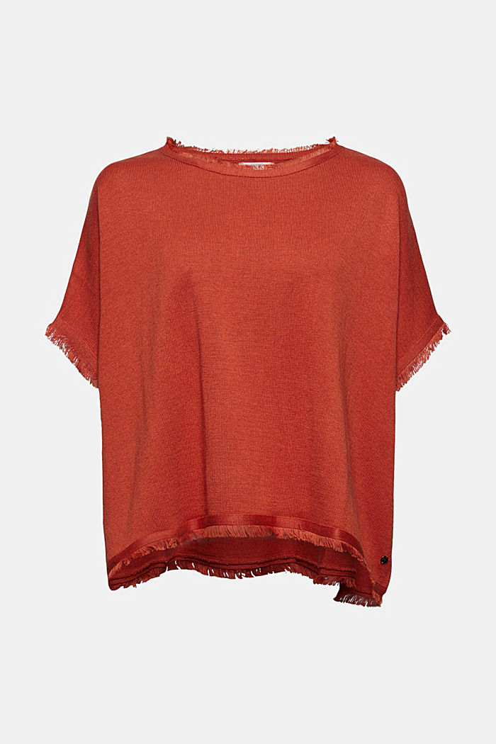 Wool blend: knit poncho with frayed edges
