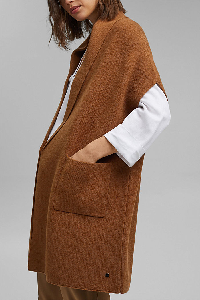 Open poncho with a shawl collar made with recycled material, CARAMEL, detail image number 1