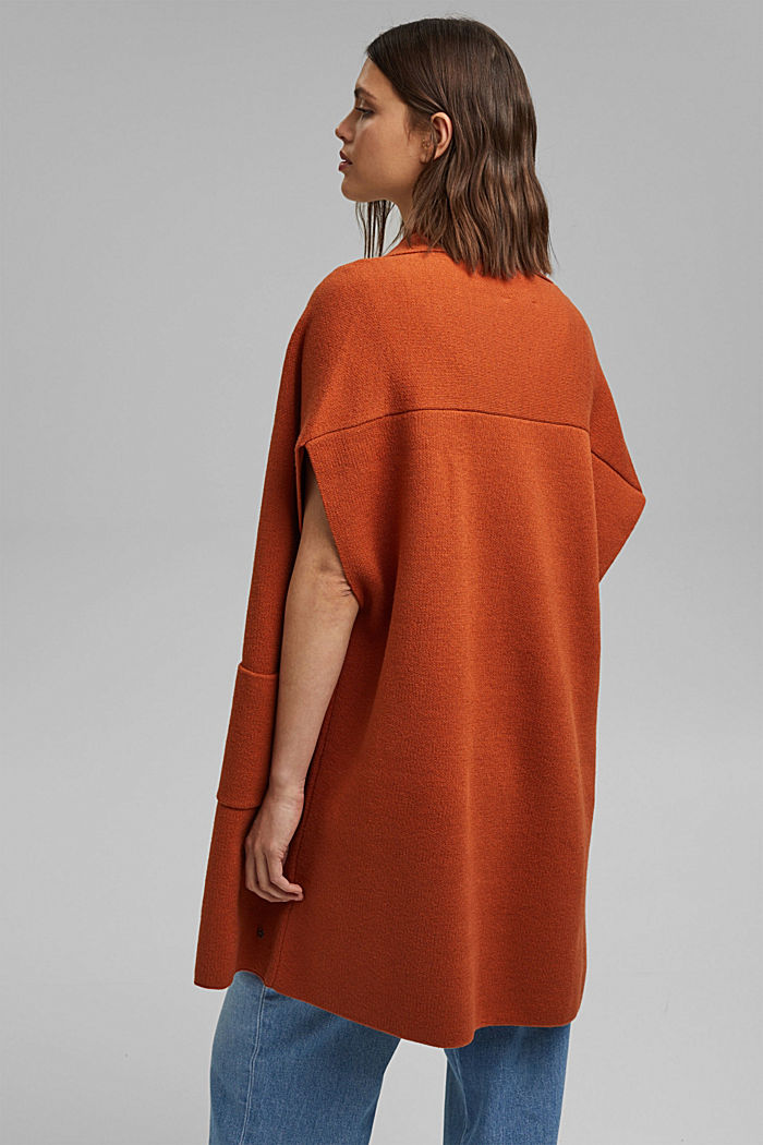 Open poncho with a shawl collar made with recycled material, TERRACOTTA, detail image number 3