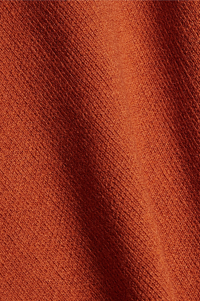 Open poncho with a shawl collar made with recycled material, TERRACOTTA, detail image number 2