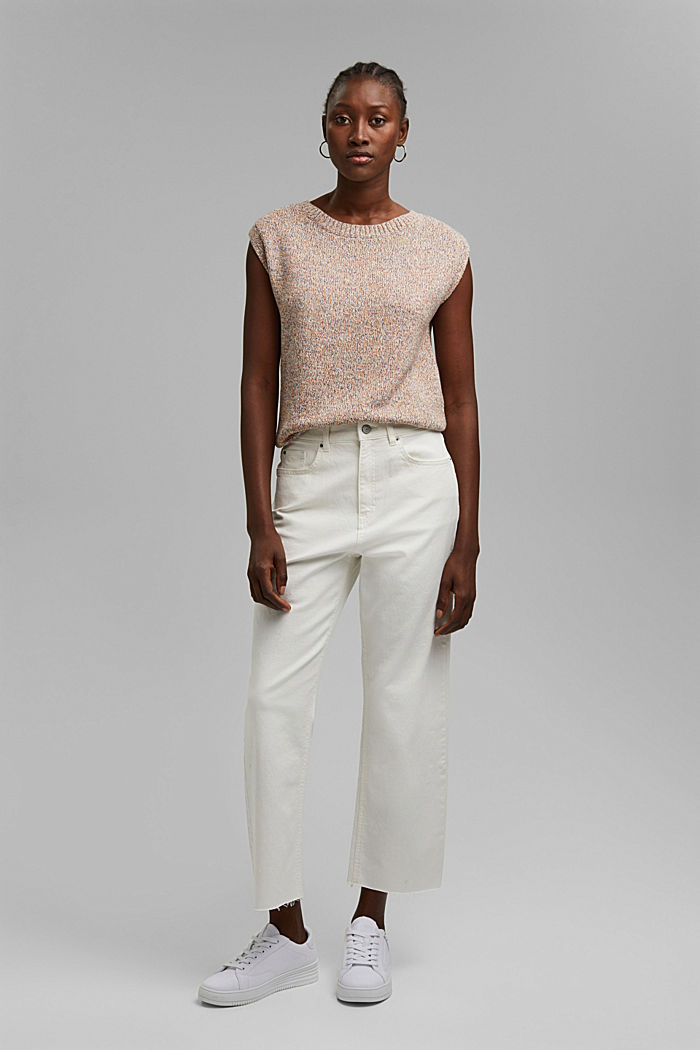 Pohodové 7/8 kalhoty v sepraném vzhledu, bio bavlna, OFF WHITE, detail image number 0